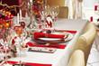 Leinwanddruck Bild - Weihnachtlich gedeckte Festtagstafel