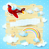 Fantasy background with airplane
