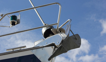 A modern ships bow with anchor correctly fitted in place