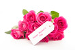 Close up of a beautiful bouquet of pink roses with a happy mothe