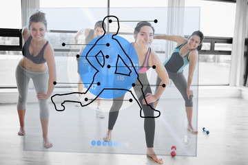 Women doing exercise with futuristic blue interface demonstratio