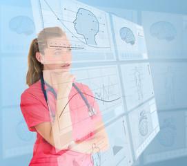 Nurse using futuristic interfaces
