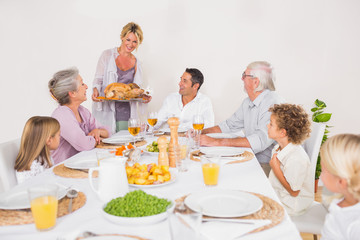 Family watching the roast turkey