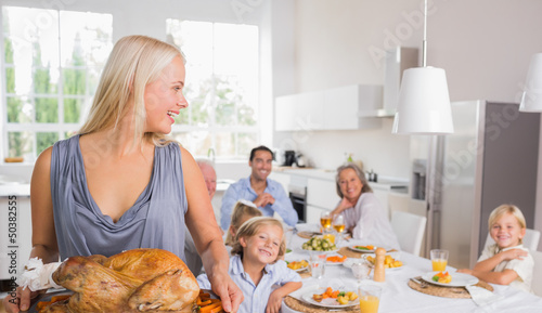 Woman looking her family