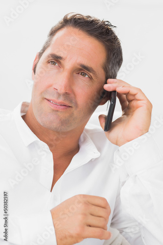 Portrait of man phoning