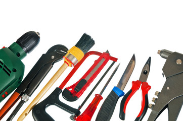 Set of working tools, it is isolated on a white background
