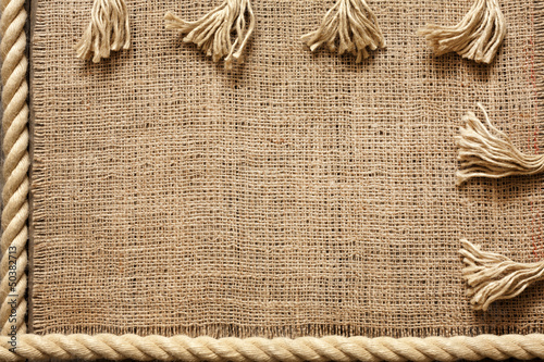 Rope and jute old vintage background concept on boards