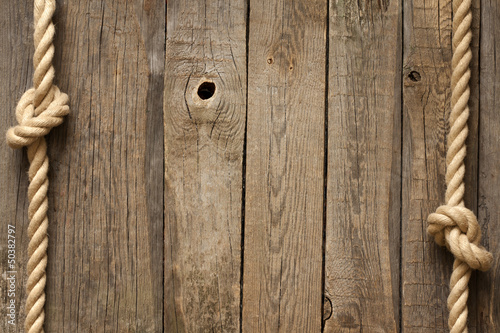 Old vintage rope and planks background abstract concept