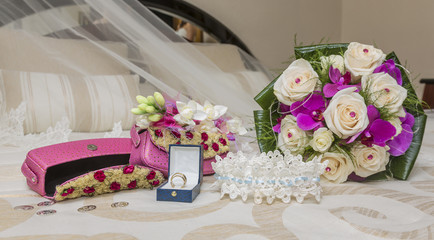 bouquet and wedding accessories