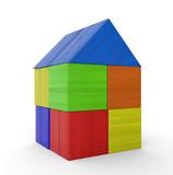 Buntes Haus aus Bauklötzen isoliert 5