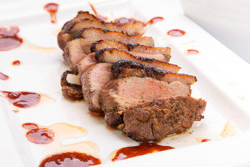 Roasted duck breast with gravy