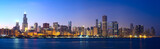 Chicago skyline panorama across Lake Michigan at sunset, IL, USA