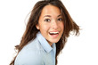 portrait of brunette girl, isolated on white background