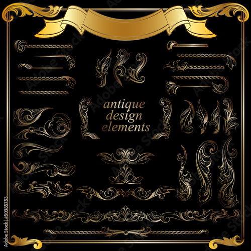 gold calligraphic design elements, decoration set