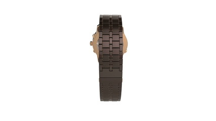 Chronograph ceramic watch rotates on white background