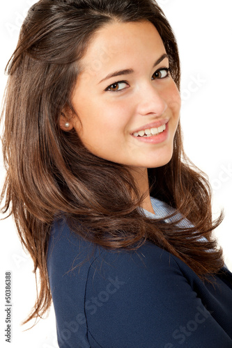 Portrait of brunette beautiful girl, isolated on white