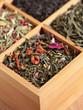 Arrangement of tea in wooden box