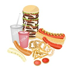 Set of Refreshing Soda Drinks and Fast Food