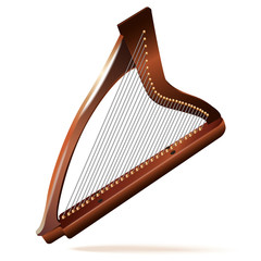 Traditional Irish (celtic) harp, isolated on white background
