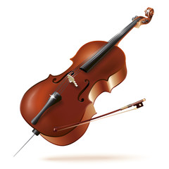 Classical cello, isolated in white background