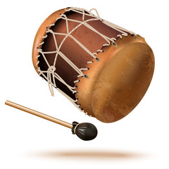 Traditional bungas (drums), isolated on white background