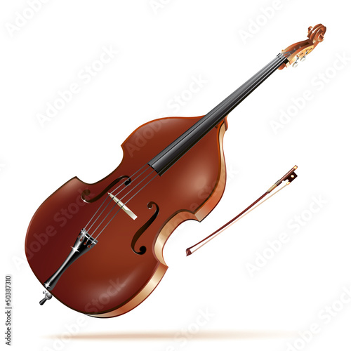 Classical contrabass, isolated in white background