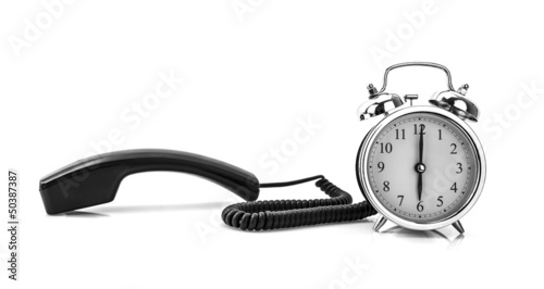 Telephone and alarm clock wake up concept