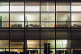office from windows by night