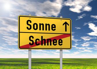 """Ortsschild """"Sonne / Schnee"""""""
