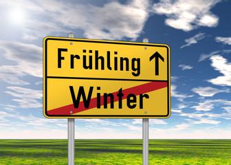 """Ortsschild """"Frühling / Winter"""""""