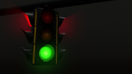 Four way street traffic light during the night looping