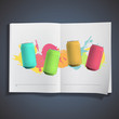Colorful tin inside a book.