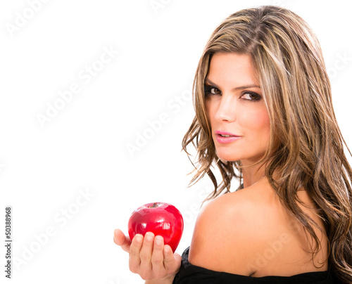 Fashion woman holding an apple