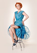 Retro readhead in vintage blue dress