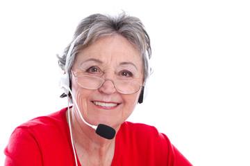 Ältere Dame isoliert nimmt eine Bestellung auf