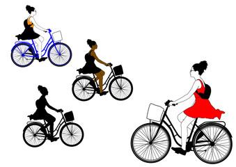 Radfahrerin mit Rock / Kleid - bike to work