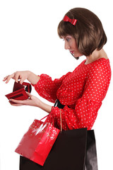 Woman with shopping bags and no money in purse
