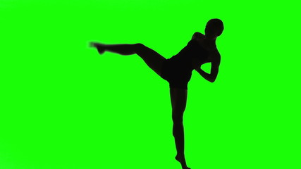 Silhouette of a Young woman dancing in front of green screen