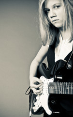 Pretty emo girl with guitar