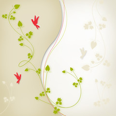 floral bird background