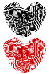 Finger prints in heart shape