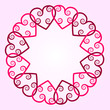 Heart with swirls round background