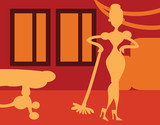 Silhouette Woman doing housework on room background - retro post