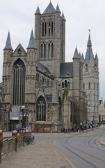 St nicolas church and belfry in historic center of Ghent