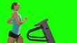 Woman running on the treadmill in front green screen.