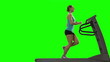 Woman running on the treadmill. Green screen