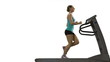 Woman running on the treadmill. White background.