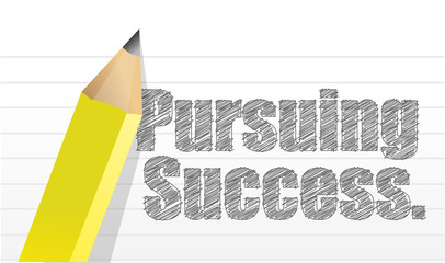 pursuing success message written on a notepad