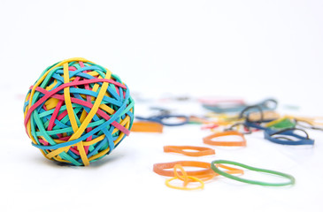 Brightly coloured Rubber band Ball