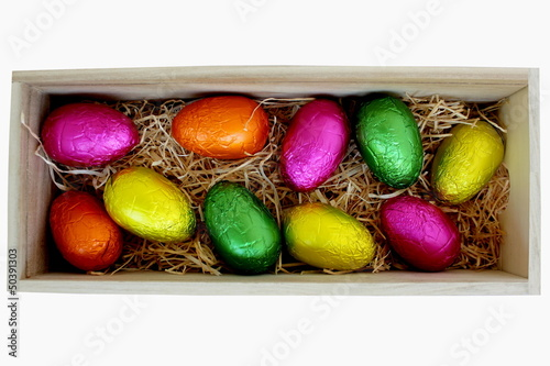 Easter Eggs in Wood Box 1
